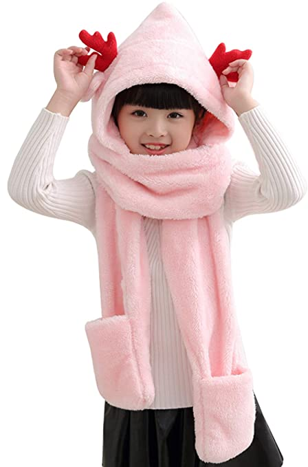 Christmas Antlers Hat Scarf Gloves Cute Winter Soft Fleece Hoodie Long Scarfs Earflap for Boys Girls