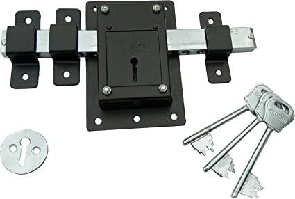 Ramson 10 Chal Iron Door Lock with 3 Keys for High Security,Operated from Both Side of The Door (Brown Universal)