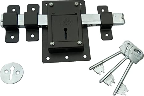 4f06335ca184 RAMSON 10 Chal Iron Door Lock with 3 Keys For High Security Operated From  Both Side Of the Door (Brown 141)  Amazon.in  Home Improvement