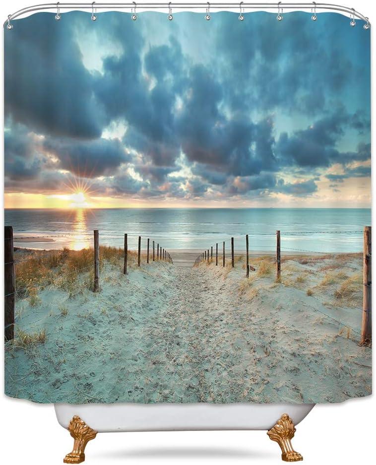 Riyidecor Ocean Beach Shower Curtain 60Wx72H Sunset Scenic Blue Sky Seaside Landscape Sand Decor Fabric Bathroom 12 Pack Plastic Shower Hooks