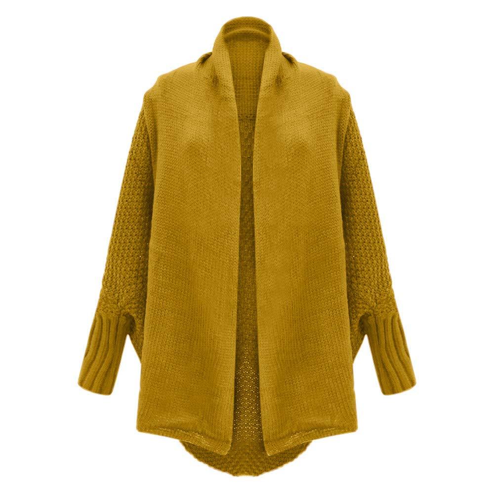 ... para Mujer Casual Bat Manga Tejida Chaqueta de Punto Cardigan Jecket suéter de Manga Larga Suelta(Un tamaño,Amarillo): Amazon.es: Ropa y accesorios