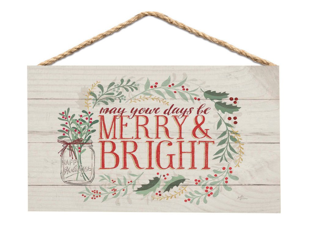 Merry & Bright Holly Wreath Whitewash 6 x 3.5 Wood Mini Wall Hanging Plaque Sign