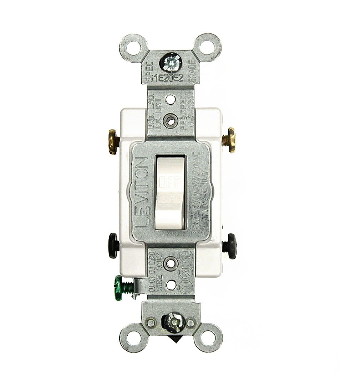 Leviton CS215-2W 15 Amp, 120/277 Volt, Toggle Double-Pole AC Quiet Switch, Commercial Grade, Grounding, White