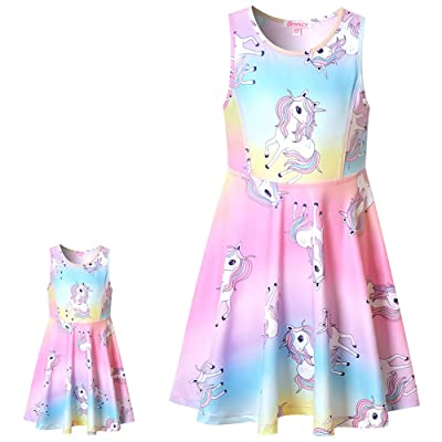 """Matching Girls & Doll Dresses Sleeveless Unicorn Outfits Clothes Fits 18"""" Dolls: Clothing"""