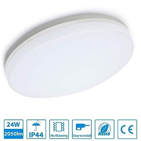 Oeegoo 24W LED de Luz de Techo Sustituye 150W de la Lámpara de Techo de Iluminación IP44 SMD2835*240 Blanco Natural 4000-4500K 2050LM Ø280 330* 48MM ...