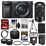 Sony Alpha A6300 4K Wi-Fi Digital Camera & 16-50mm & 55-210mm Lenses (Black) with 64GB Card + Case + Flash + Battery & Charger + Tripod + Filters + Kit