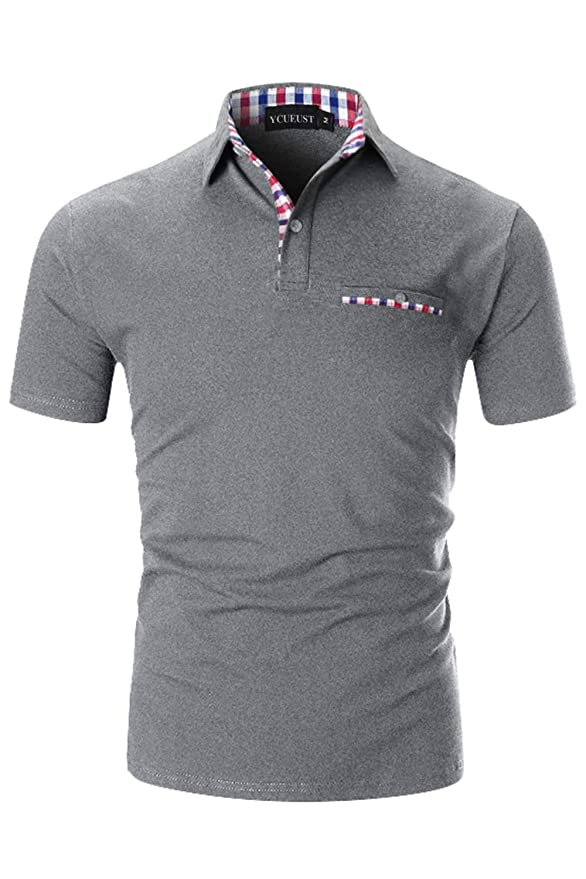 1 opinioni per YCUEUST Cotone Polo Uomo Lattice Manica Corta Basic Tennis Golf T-Shirt
