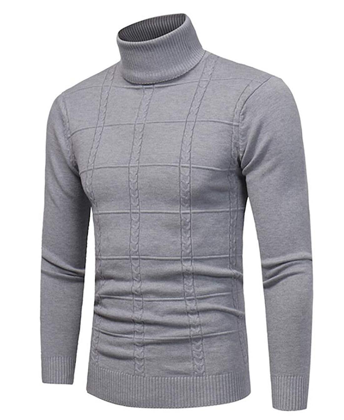 Nanquan Men Classic Fit Solid Turtleneck Pullover Knitted Sweater