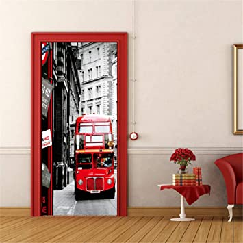 MSSDEBZ Etiqueta De Puerta 3D Autoadhesivo Pasillo Rojo Del Elevador Del Autobús Para La Sala De Estar Del Dormitorio Cartel Impermeable Respetuoso Del Medio Ambiente-95x215cm: Amazon.es: Bricolaje y herramientas