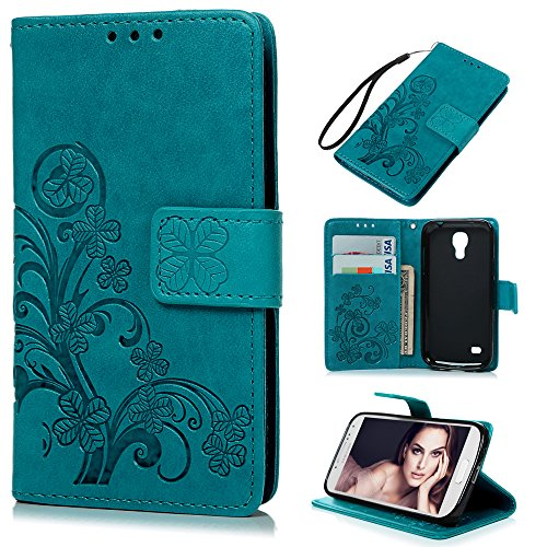 S4 Mini Case (Not for S4) - Badalink Embossed Clovers Premuim PU Leather Texture Ultra-thin Snug Fit Soft TPU Inner Cover with Magnetic Clip & ID/Credit Card Holder for Samsung Galaxy S4 Mini- Blue