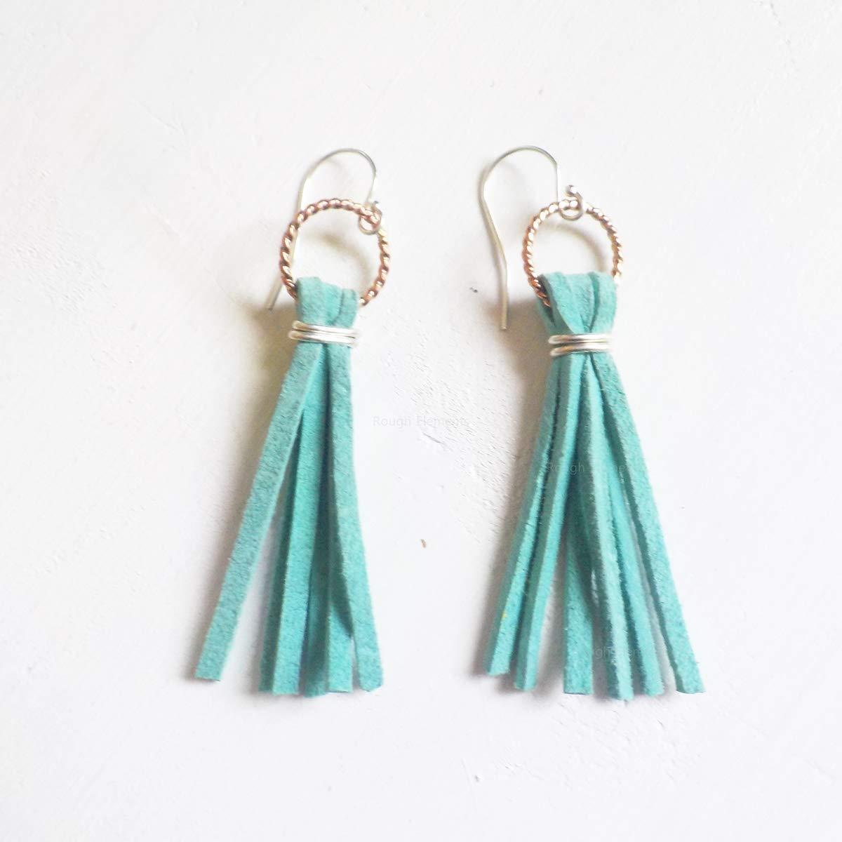 Burnt Orange suede Tassel earrings with Sterling silver hooks
