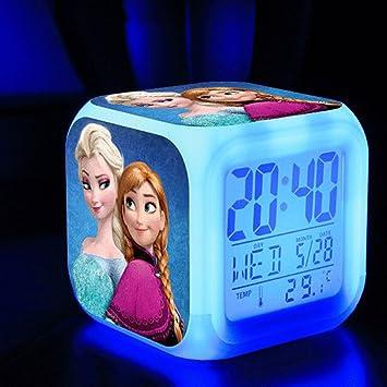 TEKIMBE Frozen - Reloj Despertador Digital con diseño de Princesa de Nieve, para niños, cumpleaños, Navidad: Amazon.es: Hogar