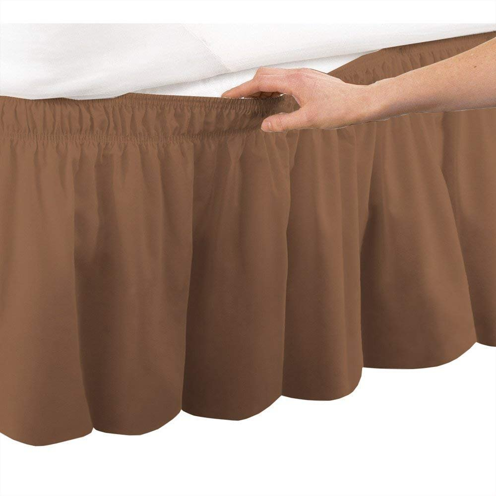 bedskirts ruffle - Three Sides Fabric - Wrap Around Bed Skirt, Microfiber Elastic Dust Ruffle - 18 Inch Drop Easy Fit Wrinkle and Fade Resistant Hotel Quality Fabric - (King/Cal-King, Taupe)