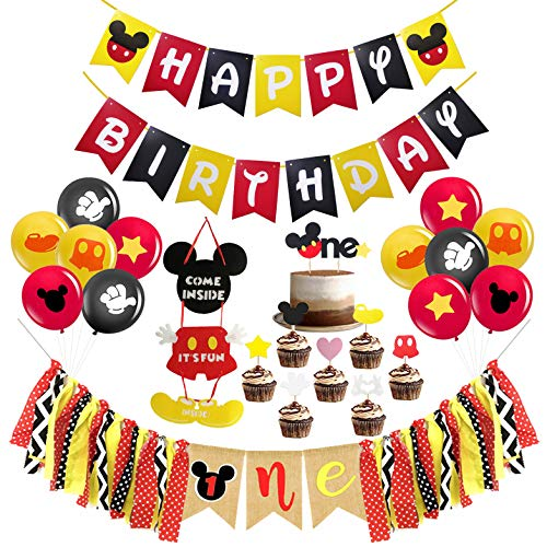 Mickey Mouse First Birthday Party Decorations , Mickey Mouse Happy Birthday Banner, Mickey Mouse One Highchair Banner, The One Cake Topper and 12 Pcs Latex Balloons for Baby Gilr Boy Mickey Mouse Theme 1st Birthday Party Supplies Decorations (Unique Birthday Party Themes For 1st Birthday)