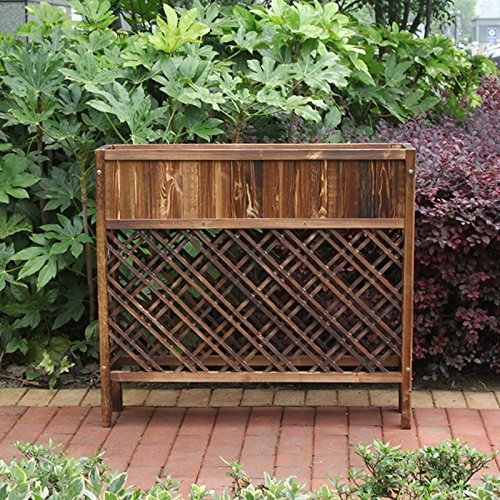 Anti-corrosion wood grid flower box, outdoor partition flower rack, carbonized solid wood flower frame, (100 90 25cm)