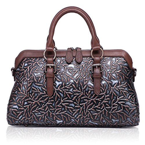 Embossed Leather Shoulder Bag - APHISON Women Genuine Leather Handbag Large Capacity Tote Bags Embossed Design Shoulder Bag for Ladies 81084 (Black)