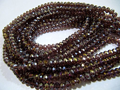 AAA Quality Mystic AB Coated Rhodolite Garnet Color Hydro Quartz Beads / 4 mm Rondelle Faceted Beads / 150 Beads approx per ()