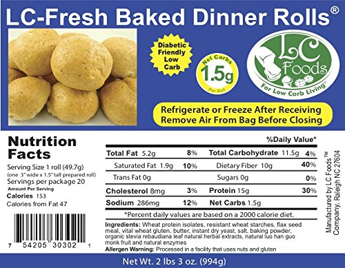 Low Carb Dinner Rolls (20 Rolls) - Fresh Baked - LC Foods - All Natural - No Sugar - High Protein - Diabetic Friendly by LC-Foods