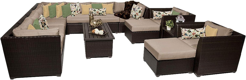 TK Classics 13 Piece Barbados-13A Outdoor Wicker Patio Furniture Set, Wheat