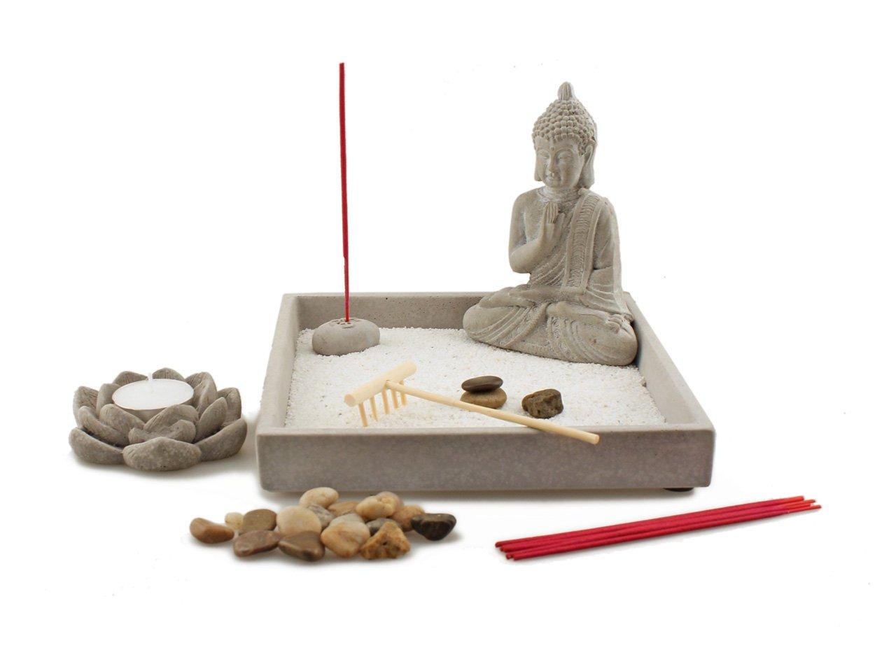 デラックステーブルトップ砂Zen Garden with Small Buddha statue Incense Holder and Lotus Flower Tealight Candleキャディ B06Y25B54T