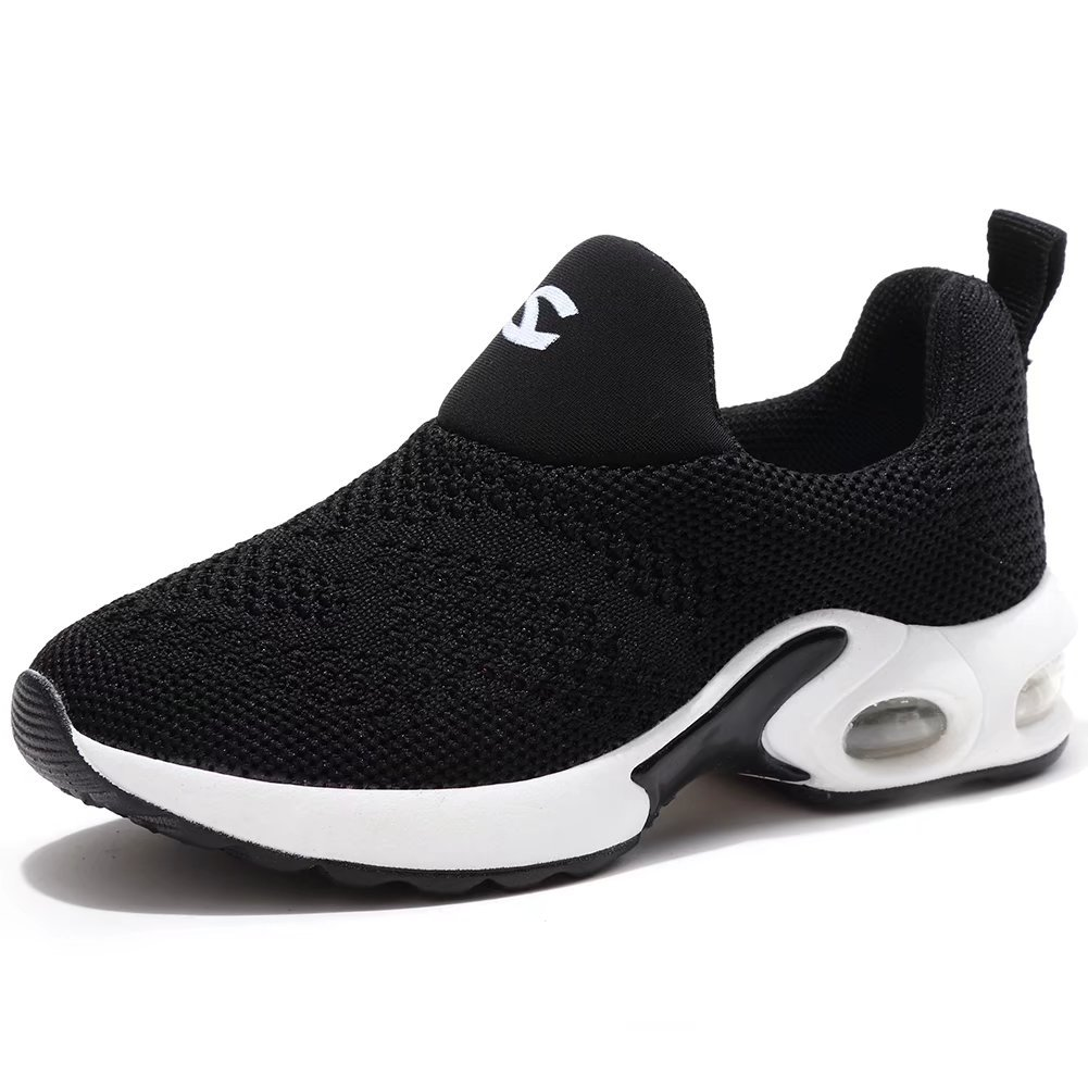 Kids Boys Girls Running Shoes Comfortable Fashion Light Weight Slip on Black Size 37