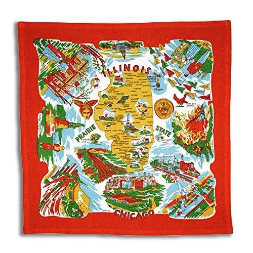 The Red & White Kitchen Co. Illinois State Souvenir Dish Towel