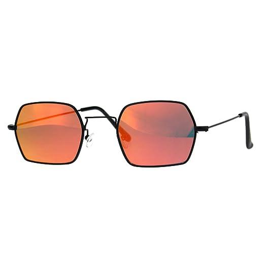 ffe7b8e59 Rectangular Hexagon Shape Sunglasses Thin Metal Frame Black, Red Mirror Lens