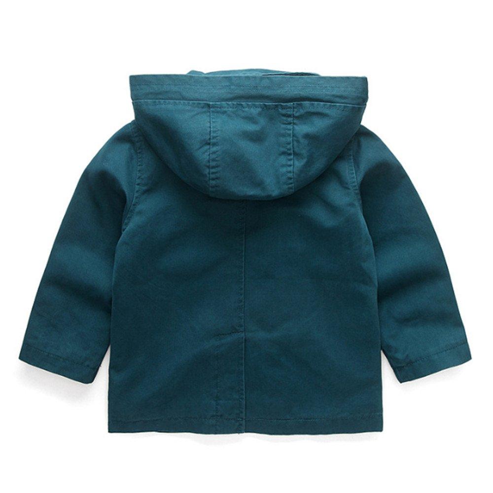 ZPW Kid Boy Classic Hooded Dress Coat Double-Breasted Windbreaker Jacket