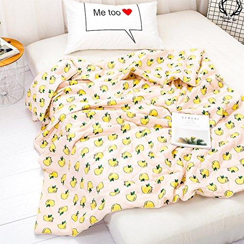 YOHA Kids Summer Comforter Thin Quilt Throw Blanket Boys Girls Cute Cartoon Quilt Cotton Soft Kids Room Bedding Quilt Coverlet(Apple-Yellow,Toddler 47
