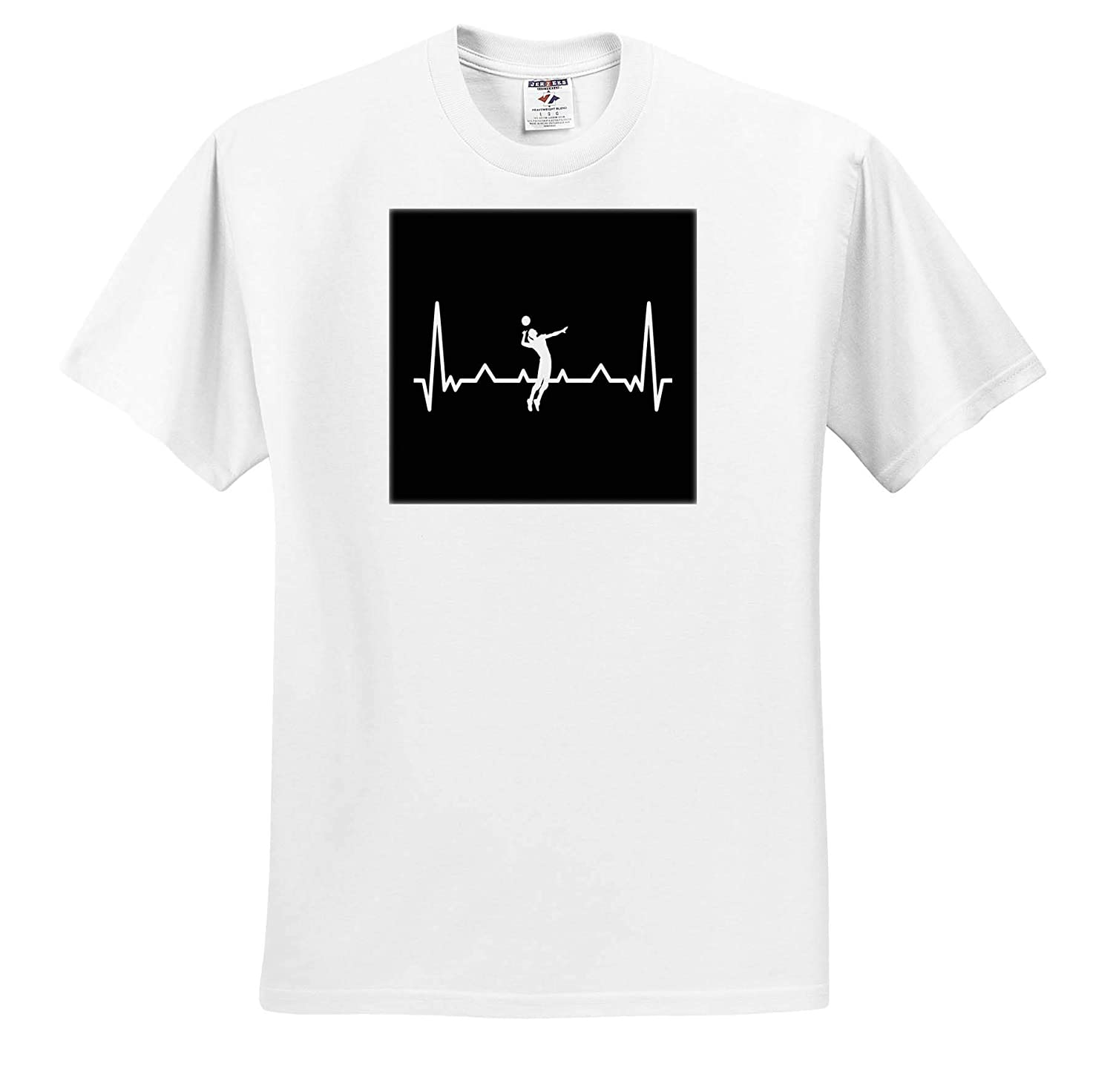 3dRose Sven Herkenrath Sport Heartbeat with Volleyball Player Sport Gift T-Shirts