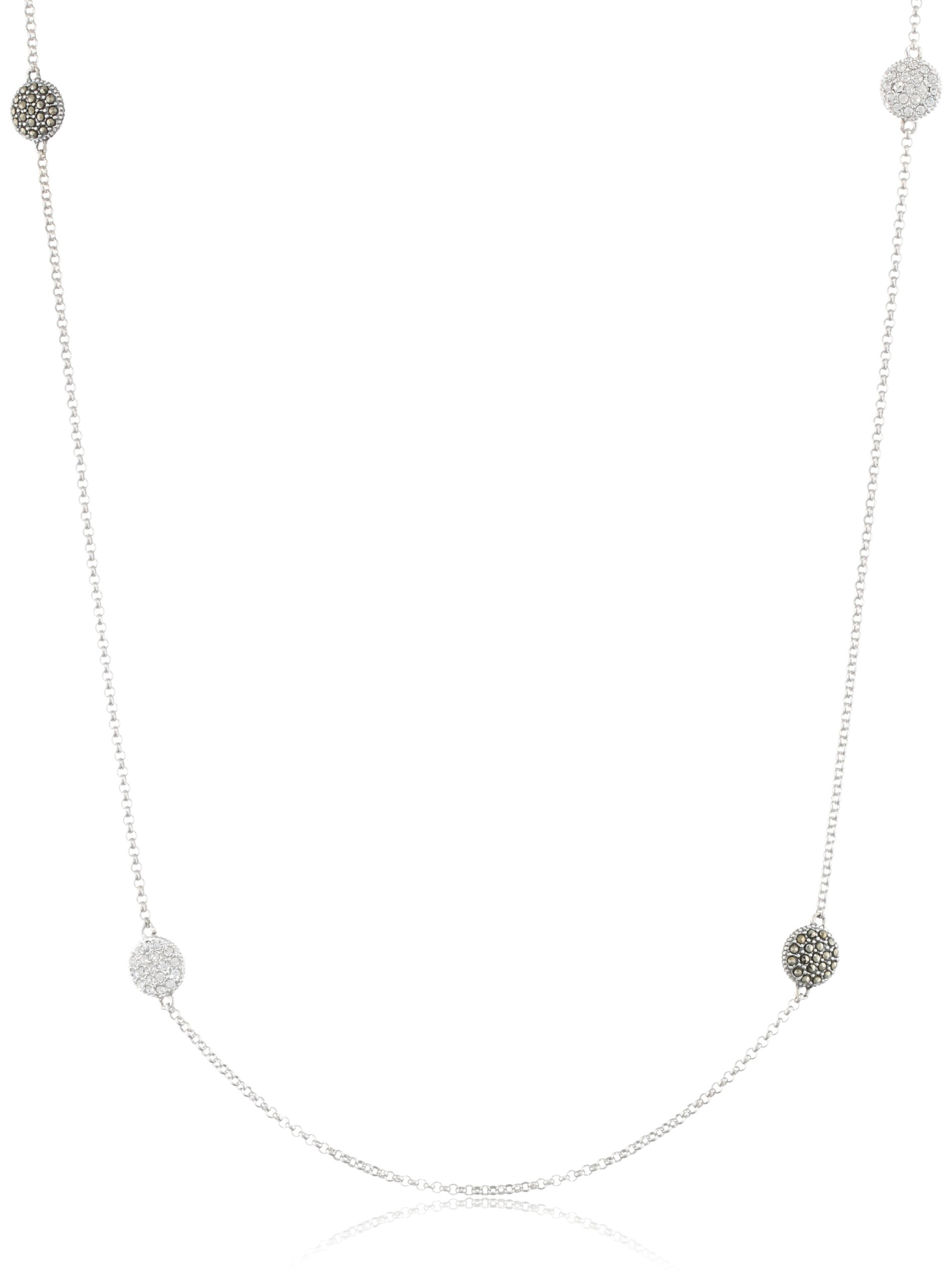 Judith Jack ''Classics'' Sterling Silver, Marcasite, and Cubic Zirconia Station Necklace, 36''