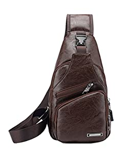Waterproof PU Leather Sling Bags Chest Shoulder Crossbody Messenger Business Travel Hiking School Multipurpose Daypack Purse Backpack for Mens Womens Dark Brown