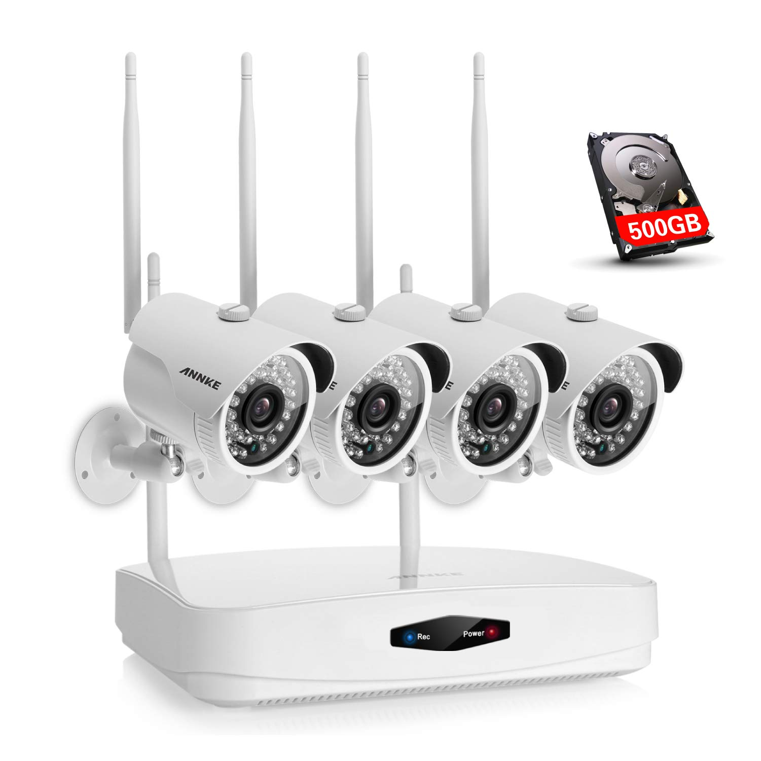 ANNKE 4CH 960p NVR with 500GB HDD Pre-Installed and (4) 1.0MP Wireless Security Cameras, 720p Smart Outdoor IP Cameras with 100ft Night Vision, IP66 Weatherproof