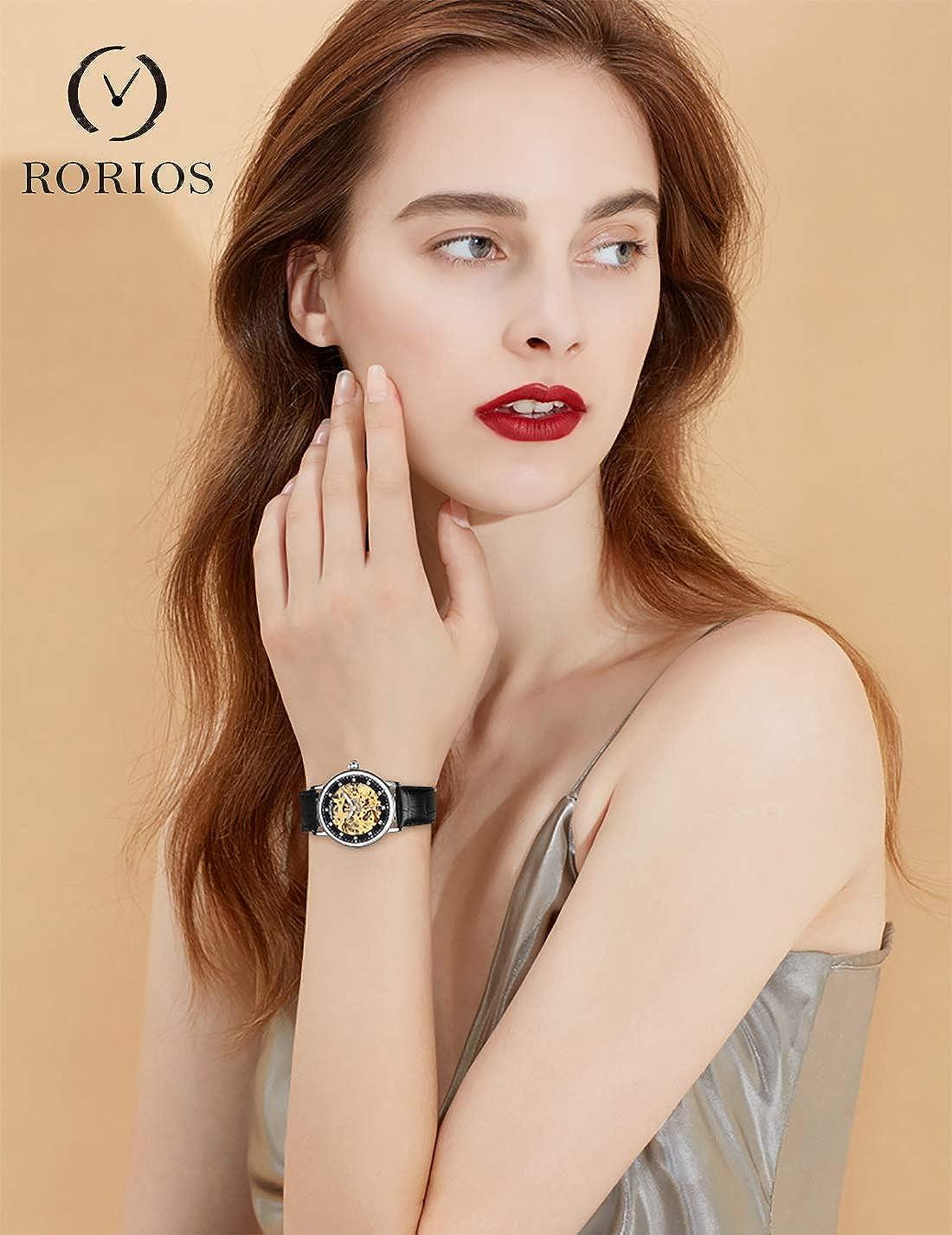 RORIOS Montre Mécanique Automatique Femme Lumineuses Montre Diamant Simulé Squelette Dames Montres Marron