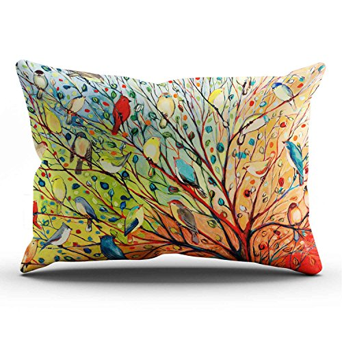 KEIBIKE Personalized Abstract Trees and Birds King Rectangle Decorative Pillowcases Print Zippered Throw Pillow Covers Cases 20x36 Inches One Sided ()