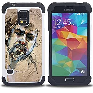 - painting sketch portrait beard man sad - - Doble capa caja de la armadura Defender FOR Samsung Galaxy S5 I9600 G9009 G9008V RetroCandy