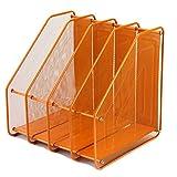 Olpchee Assemble Mesh Desk Desktop File Folder Racks Holders Office Supply Caddy Paper Organizer with 4 Upright Sections (Orange)