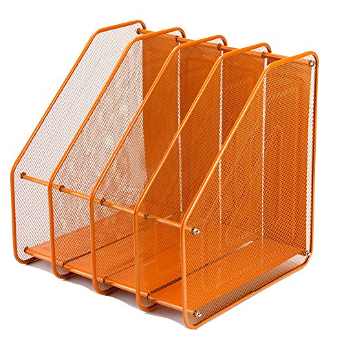 Olpchee Assemble Mesh Desk Desktop File Folder Racks Holders Office Supply Caddy Paper Organizer with 4 Upright Sections (Orange) by Olpchee