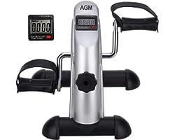 Mini Exercise Bike, AGM Digital Under Desk Bike Foot Cycle Arm & Leg Pedal Exerciser with LCD Screen Displays