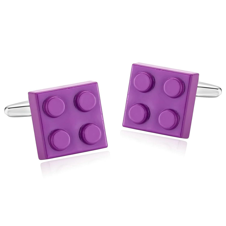 KnSam Stainless Steel Purple Fashion Fun 4 Building Blocks Pair Cufflinks for Mens Shirt Stud