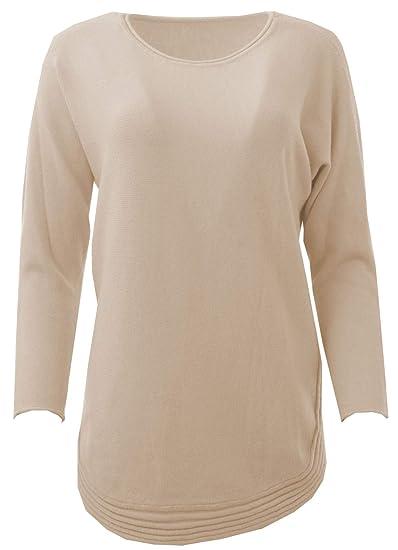 f7d8b054ea0 Gracious Girl Women Italian Angora Wool Mix Curve Rib Hem Long Sleeved  Jumper Top Beige One Size Plus (UK 10-18)  Amazon.co.uk  Clothing