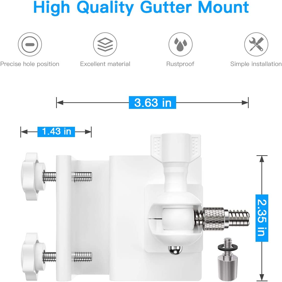 HOLACA Gutter Mount for Ring Spotlight Cam Battery//Wired HD Security Camera-Weatherproof-Give a Perfect Angle for Your Ring Spotlight Cam-Ring Spotlight Cam Accessories. White
