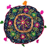 Indian 15'' Round Cotton Stool Pouf Ottoman Ethnic Chair Decor Furniture Retro