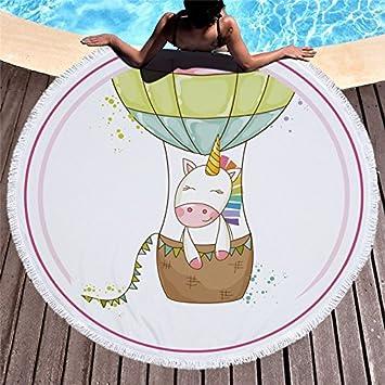 CHIPYHOME Toalla playa piscina unicornio en globo NOVEDAD 2018 de delicados colores tanto para bebes, niñ@s y adultos. camping, gimnasio, picnic, deportes, ...