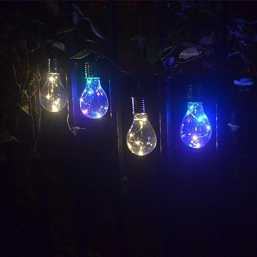 Bombilla de luz solar a prueba de agua Jardín giratorio que acampa al aire libre Colgante Iluminación de 5 LED Bombilla de lámpara solar ecológica Kaemma: Amazon.es: Iluminación