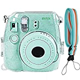 Camera Case Cover for Fujifilm Instax Mini 9/8/8+, Glitter PVC Transparent Crystal Protective Camera Case for Fujifilm Instax Mini 9/8/8s Instant Film Camera with Cute Adjustable Strap, By SAIKA