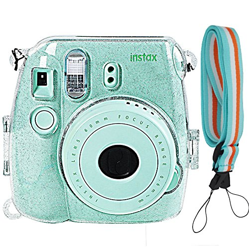 Camera Case Cover for Fujifilm Instax Mini 9/8/8+, Glitter PVC Transparent Crystal Protective Camera Case for Fujifilm Instax Mini 9/ 8/ 8s Instant Film Camera with Cute Adjustable Strap, By SAIKA
