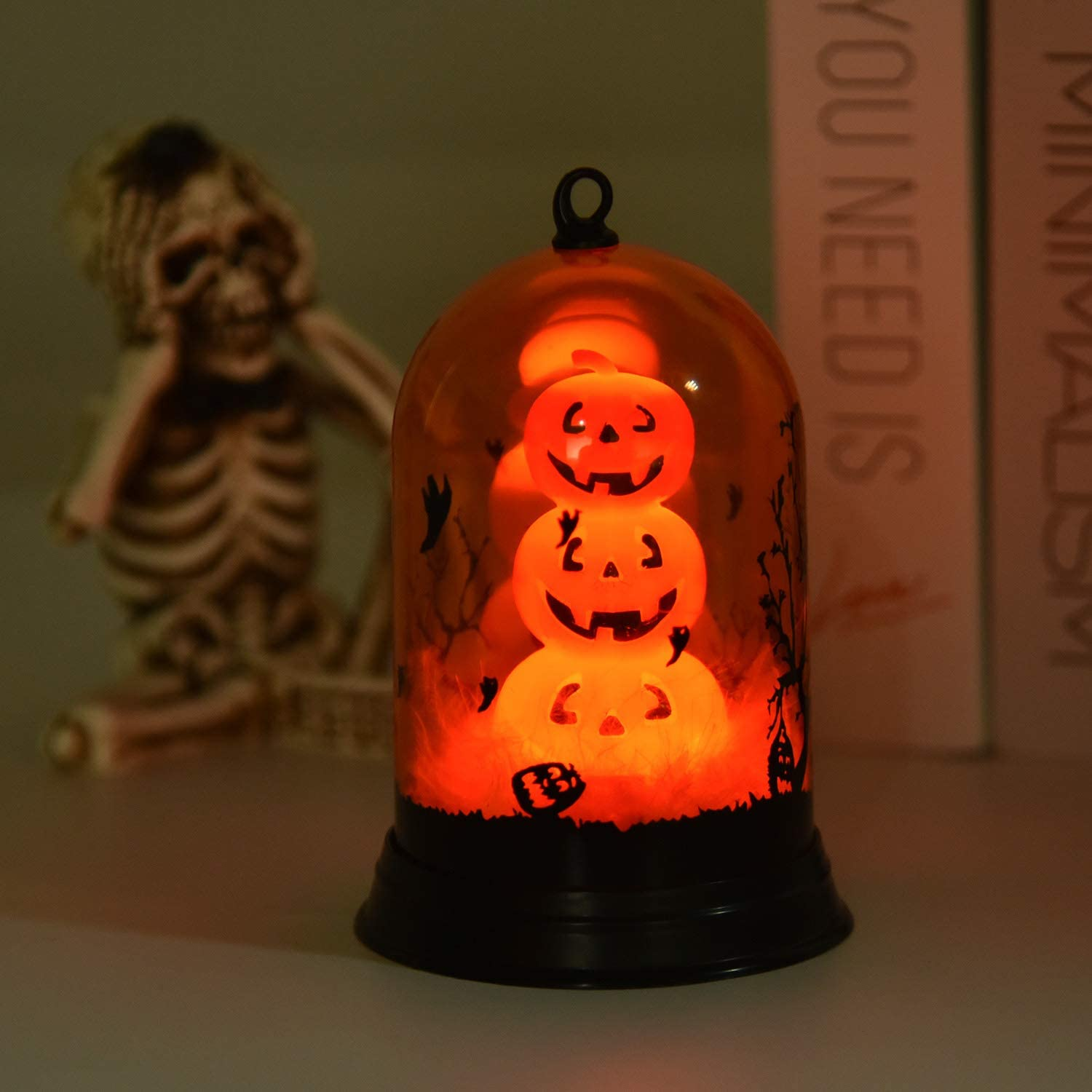 Goodlights Halloween Decorations Lights, Retro Pumpkin Lampshade Battery Operated, Orange Halloween Lights for Halloween Home Decor, Party Atmosphere
