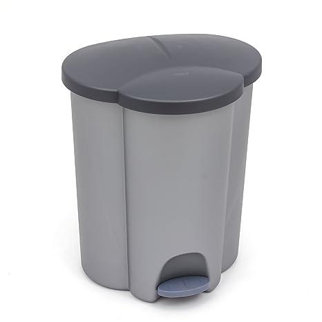 CURVER - Cubo de Basura de 40 litros en 3 Compartimentos, 2 x 17 litros, 1 x 16 litros, antiolor, Gris