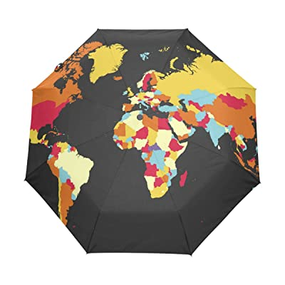 fd01d96fcd6 ALAZA Colorful World Map 3 Folds Auto Open Close Anti-UV Umbrella on sale